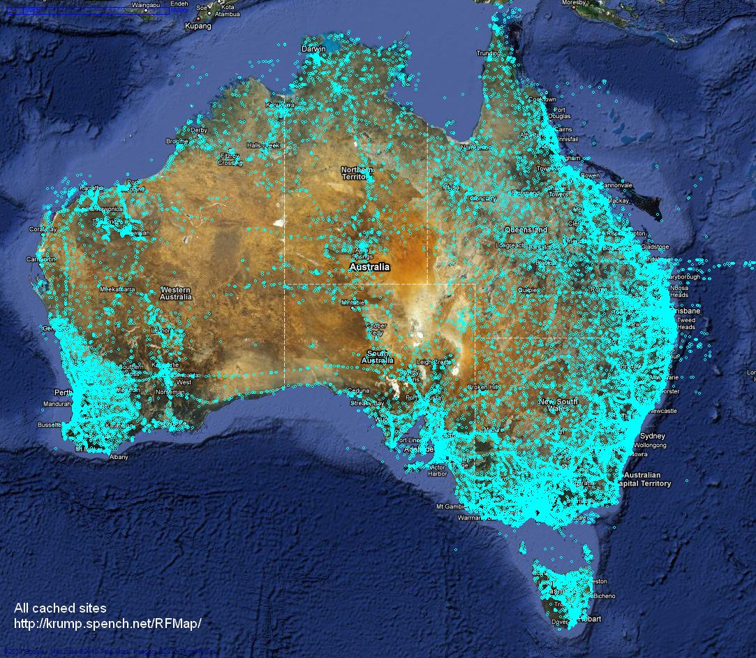 Australian Geographical RadioFrequency Map | spench.net on